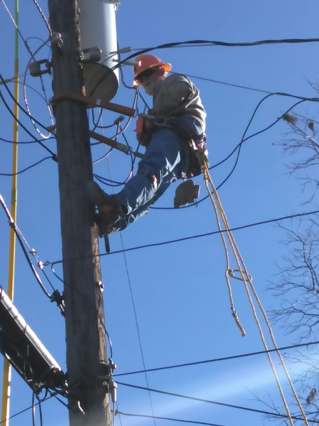 Lineman on pole