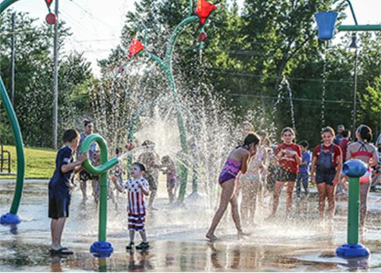 Children playing at waterpark