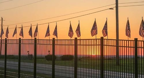 Flags Flying in the Sunset